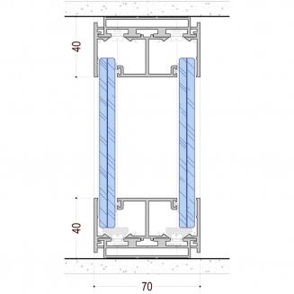שרטוט מערכת מחיצת זכוכית